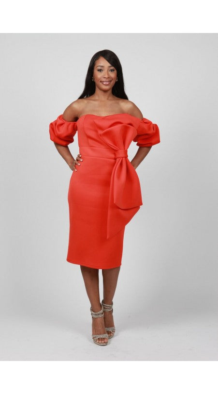 Orange Evening Dress with side bow