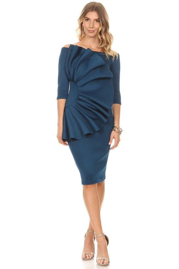 Blue Scuba Fan Dress