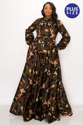 Ashanti Camouflage Maxi Dress w Long Sleeves