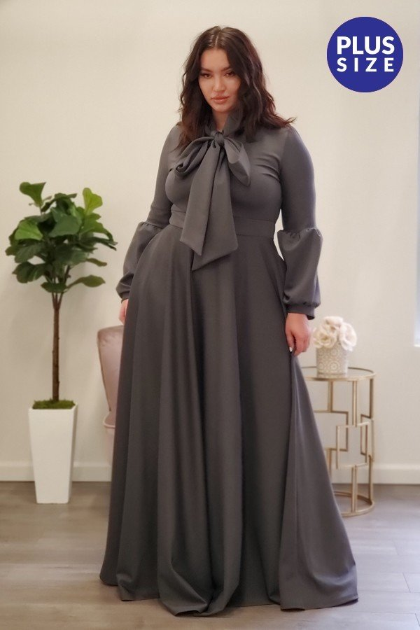 Charcoal Grey Maxi Dress, PLUS Size Only.