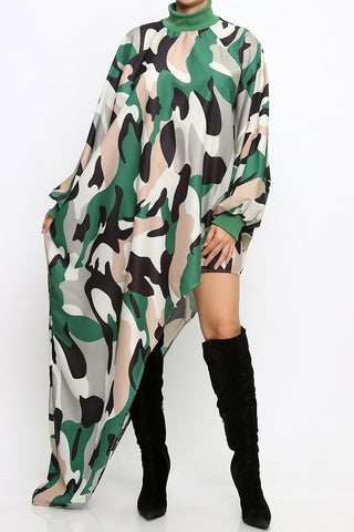 Camouflage Unbalanced Cutting Loose Fit Top
