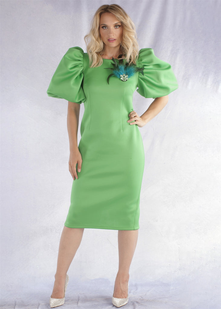 Emerald Midi Scuba Dress w removable brooch
