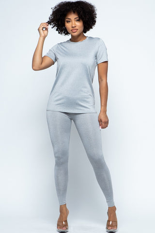 2-Piece Solid Top and Legging set -LIGHT GRAY