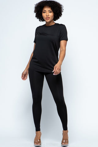 2-Piece Solid Top and Legging Set -BLACK
