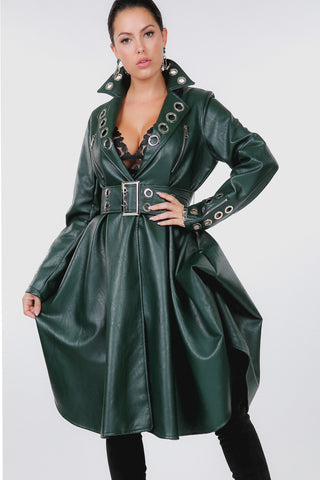 Green Leather Trench Jacket