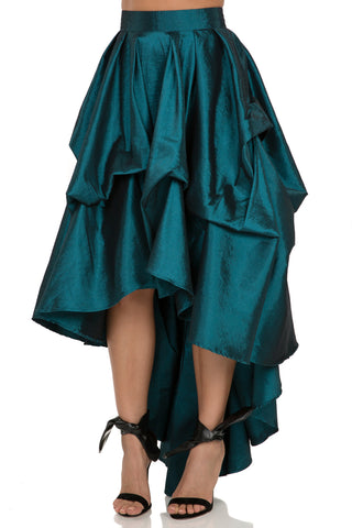 Tacking Hi -Low Skirt, Hunter Green