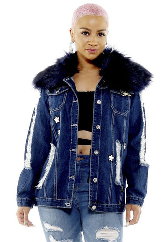 Jean Jacket with Faux Fur Collar