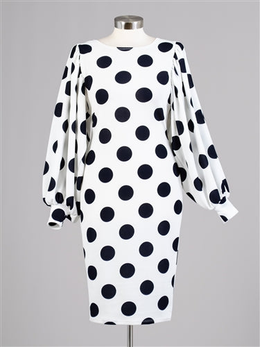 Black and White Puff Sleeve Dress-SOLD OUT