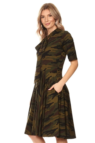 Camouflage Pleated Bow Dress w Pockets