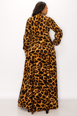 Ashanti Leopard Print Maxi Dress w Long Sleeves