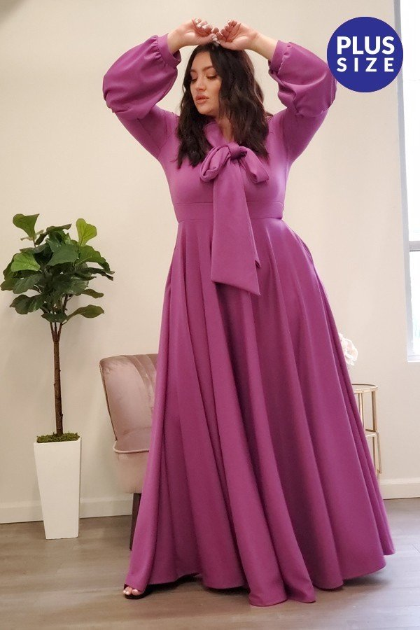 Magenta  Maxi Dress, PLUS Size Only.