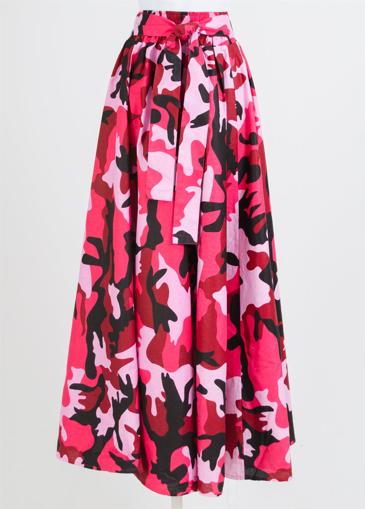 Camouflage Print  PINK MAXI  Skirt- 42 Inches Long