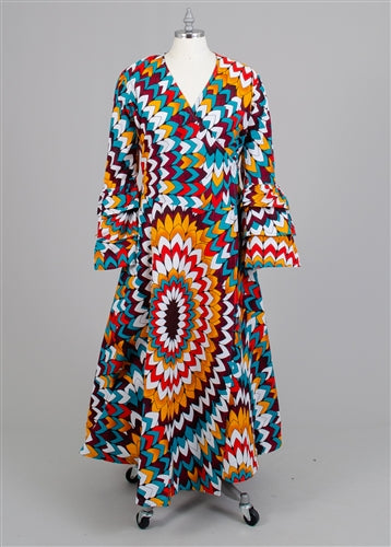 Printed  3-Tier Sleeve Wrap Dress