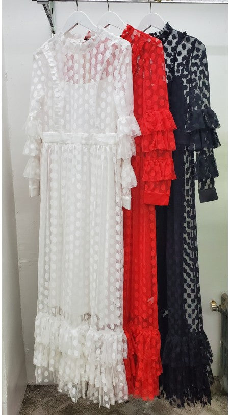 Red Sheer Polka Dot Maxi Dress w Long Sleeves