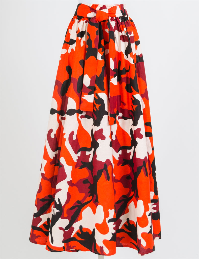 Camouflage Print  RED MAXI  Skirt- 42 Inches Long