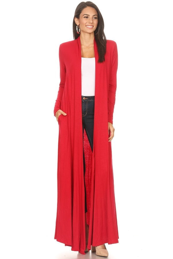 Duster Solid Open Front with Long Sleeves and Pockets-RED
