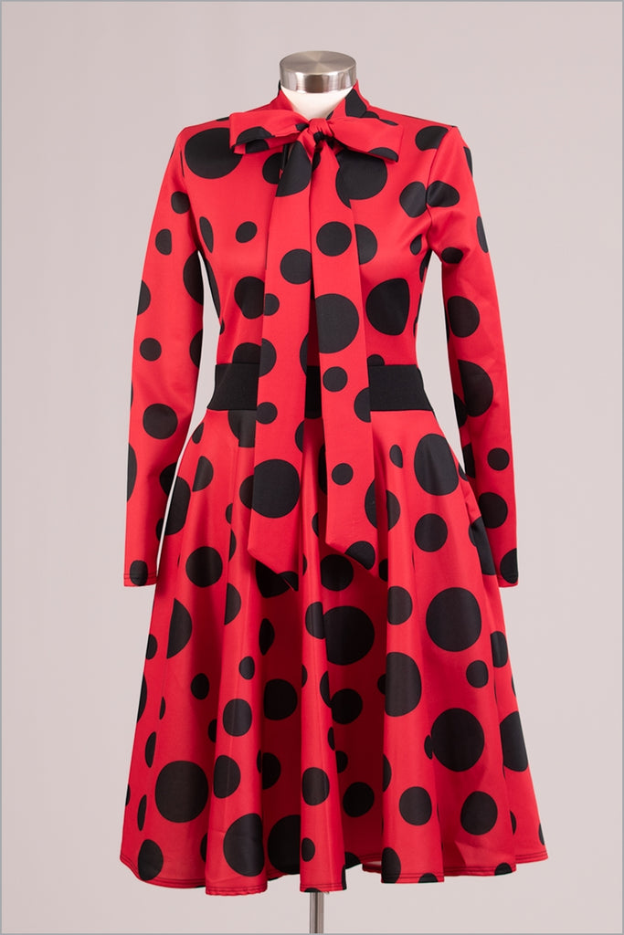 Red and Black Polka Dot Dress w Bow