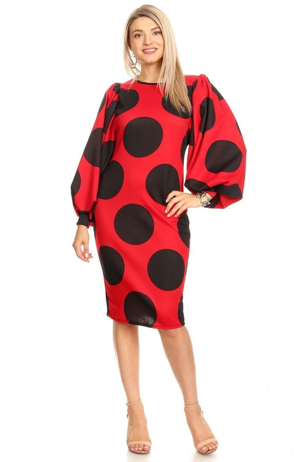 Red and Black Polka Dot Midi Dress w Puffy Sleeves