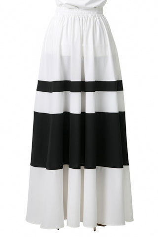White and Black Maxi Skirt