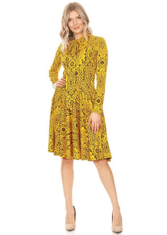 Yellow and Black Paisley Print Dress