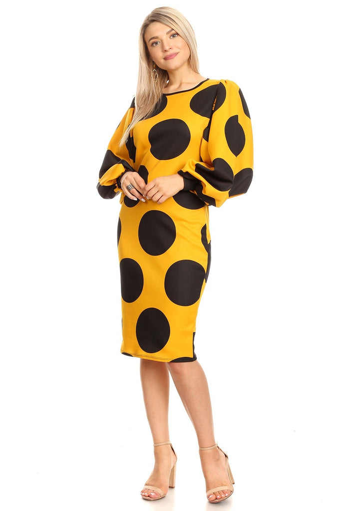 Mustard and Black Midi Dress w Puffy Sleeves