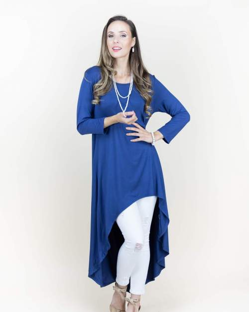 Denim Split Kaftan Maxi Dress