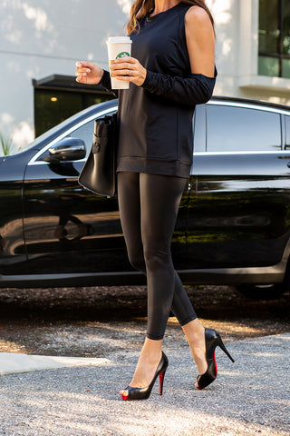 Our luxe, black liquid finish leggings are versatile and made for working out or a night out. Its sleek, edgy leather look will have you feeling Yummy & Trendy®!