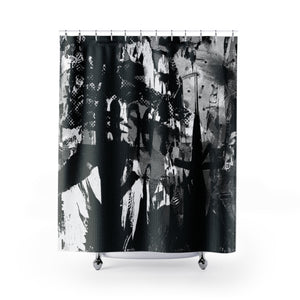 BW ABSTRACT ART SHOWER CURTAINS