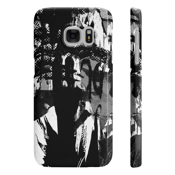 B&W ABSTRACT ART SLIM PHONE CASE
