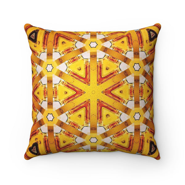 The Kaleidoscope Yellow Suede Pillow