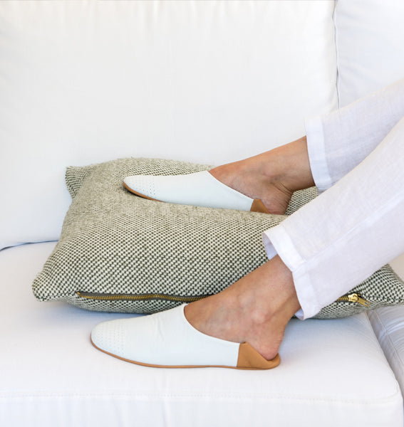 Bright White Leather Summer Slippers