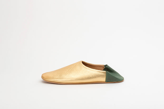Gold and Forest Green Babouche Slippers