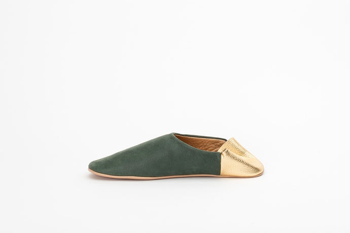 Forest Green and Gold Babouche Slippers