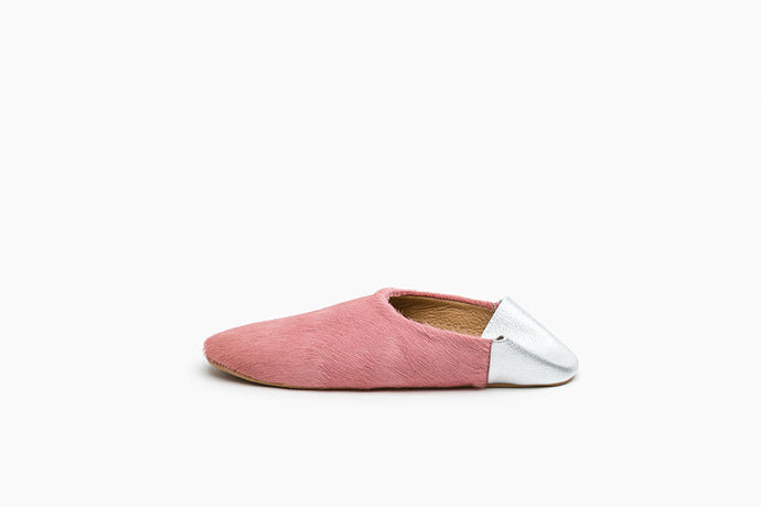 Women's Pink and Silver Leather Babouche Slippers
