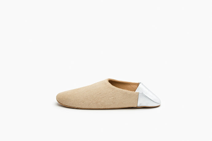 Women's Tan and Silver Leather Babouche Slippers