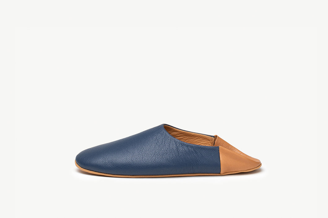 Stylish Men's Blue and British Tan leather indoor slippers / house shoes