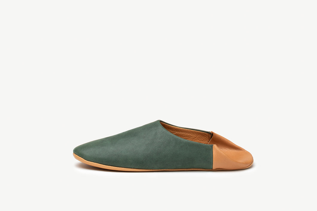 Men's Forest Green and British Tan Leather Slippers