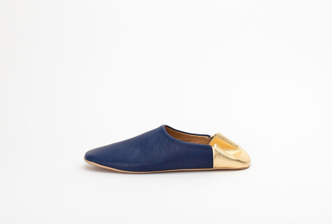 Indigo Blue and Gold Babouche Slippers