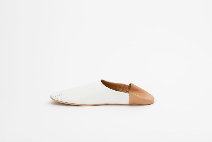 Single Stylish Women's Leather Slipper / House Shoe | White and Tan
