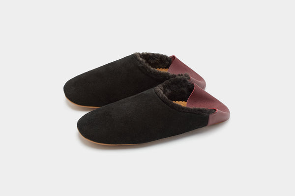 Women's Black Suede and Shearling Slippers