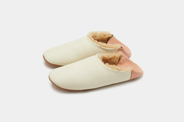 Women's Cream Leather and Shearling Slippers