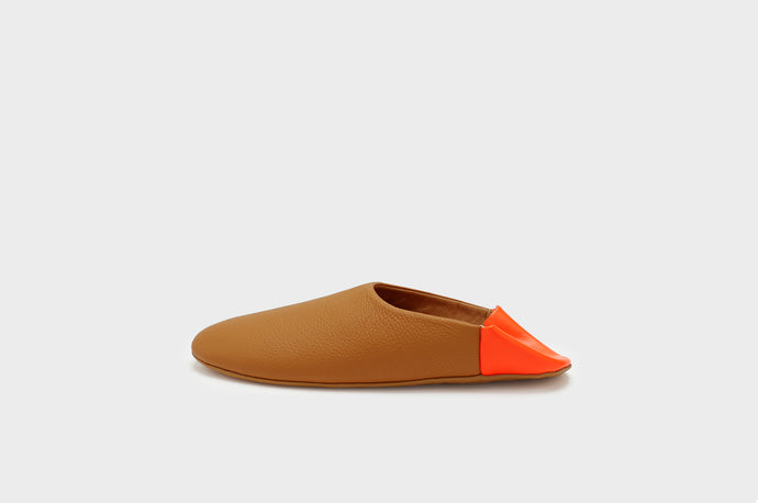 Caramel & Neon Orange Indoor Slippers