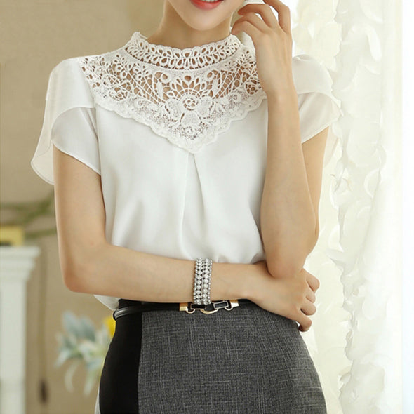 Summer 2015 Woman's Lace Chiffon Blouse