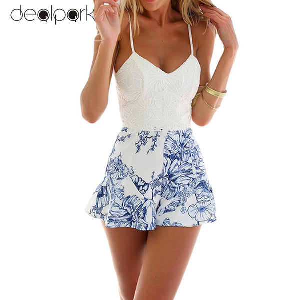 ANSELF Lace Floral Romper