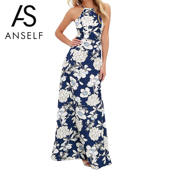 ANSELF Vintage Floral Print Long Maxi Dress