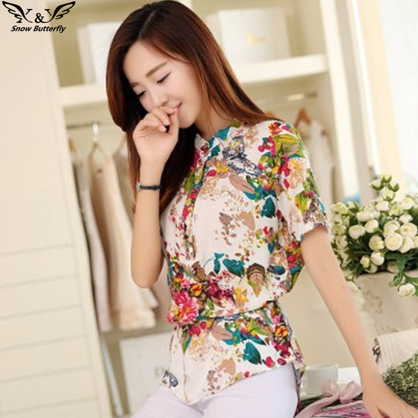 2017 Woman's Floral Print Chiffon Blouses with Stand-Up Collar