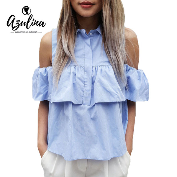 2017 AZULINA Woman's Cold Shoulder Blouse with Ruffles