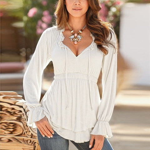 Tops Blusas Cotton V-neck Long Sleeve