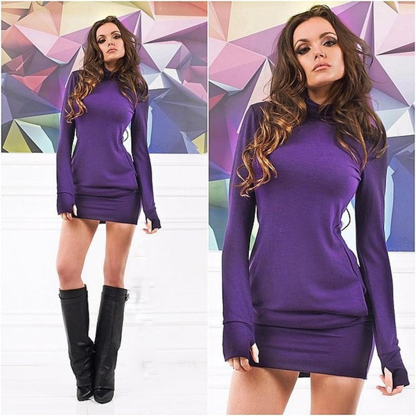 Long Sleeve Thumb Out Dress With Pockets