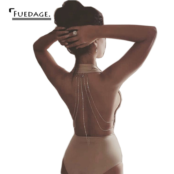 Summer 2017 FUEDAGE Woman's Sexy Beaded Backless Bodysuit